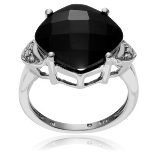 Journee Collection Sterling Silver Onyx Topaz Accent Ring