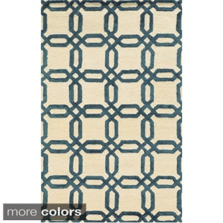 Hand-tufted Trellis Wool Ivory/ Blue/ Brown Rug (2' x 3')