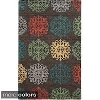 Hand-tufted Trellis Wool Grey/ Beige/ Orange Rug (5' x 8') - 5' x 8'