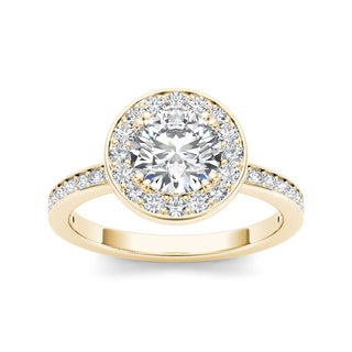 De Couer 14k Yellow Gold 1 1/4ct TDW Diamond Halo Engagement Ring