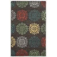 Hand-tufted Trellis Wool Grey/ Beige/ Orange Rug (9' x 12')