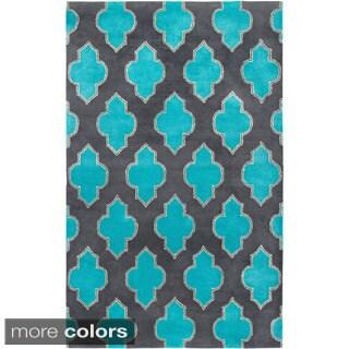 Hand-tufted Trellis Wool Blue/ Grey Rug (5' x 8')