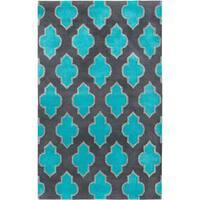 Hand-tufted Trellis Wool Blue/ Grey Rug - 8' x 10'