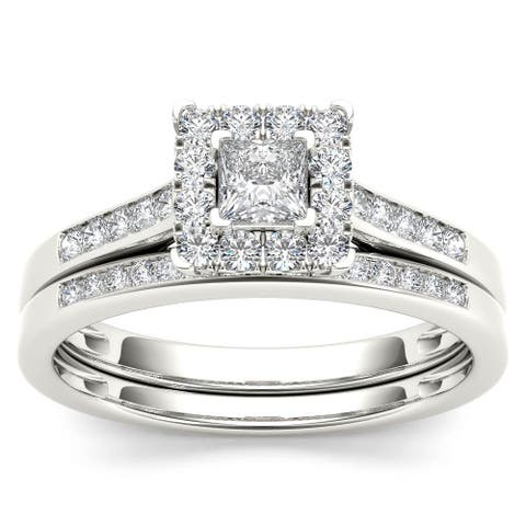 De Couer 10k White Gold 1/2ct TDW Diamond Halo Engagement Ring Set with One Band