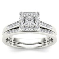 De Couer 10k White Gold 1/2ct TDW Diamond Halo Engagement Ring Set with One Band - White H-I