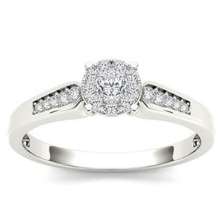 De Couer 10k White Gold 1/4ct TDW Diamond Cluster Engagement Ring (H-I, I2)