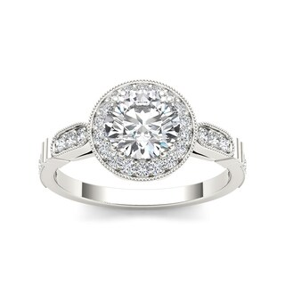 De Couer 14k White Gold 1 1/4ct TDW Diamond Single Frame Solitaire Engagement Ring - White H-I