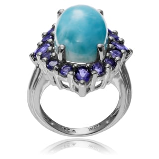 Journee Collection Sterling Silver Larimar Iolite Accent Ring