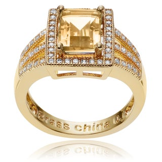 Journee Collection 14k Goldplated Metal Citrine CZ Accent Rectangle Ring
