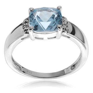 Journee Collection Sterling Silver Cushion-cut Topaz Ring