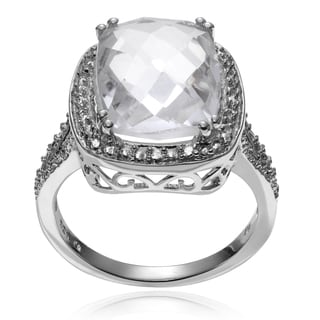 Journee Collection Sterling Silver Crystal Quartz Split Band Ring