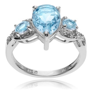 Journee Collection Sterling Silver Topaz 3-stone Ring