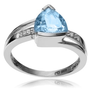 Journee Collection Sterling Silver Blue Topaz Diamond Accent Ring