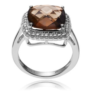 Journee Collection Sterling Silver Smoky Quartz Halo Ring