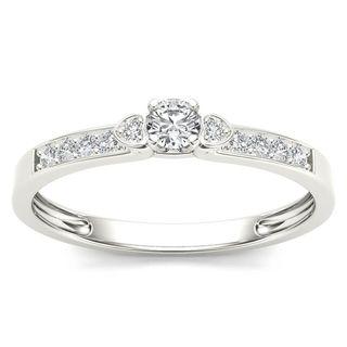 De Couer 10k White Gold 1/5ct TDW Diamond Classic Engagement Ring - White H-I