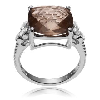 Journee Collection Sterling Silver Smoky Quartz White Topaz Accent Ring