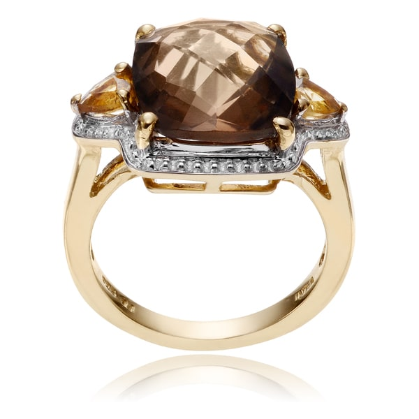 Journee Collection Goldplated Sterling Silver Topaz 3-Stone Ring