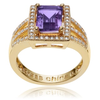 Journee Collection 14k Goldplated Metal Amethyst CZ Accent Rectangle Ring