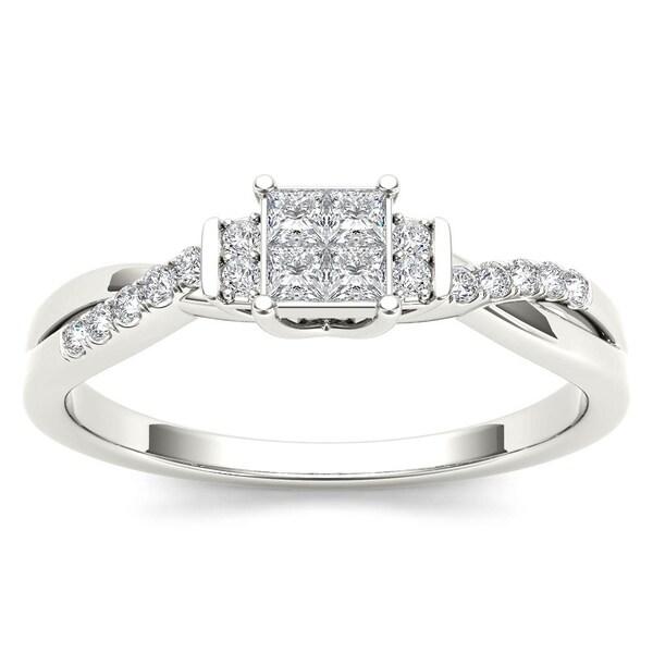 De Couer 10k White Gold 1/4ct TDW Diamond Three-Stone look Engagement Ring - White H-I