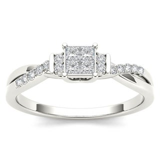 De Couer 10k White Gold 1/4ct TDW Diamond Three-Stone look Engagement Ring