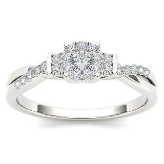 De Couer 10k White Gold 1/4ct TDW Diamond Three-Stone look Engagement Ring - White H-I