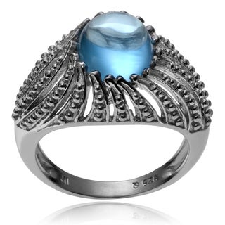 Journee Collection Sterling Silver Rhodium-plated Oval Cabochon Blue Topaz Ring