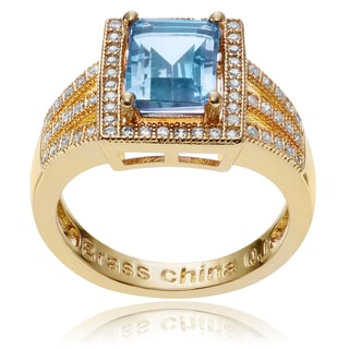 Journee Collection 14k Goldplated Blue Topaz CZ Accent Rectangle Ring