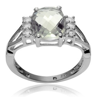 Journee Collection Sterling Silver Green Amethyst Topaz Accent Ring