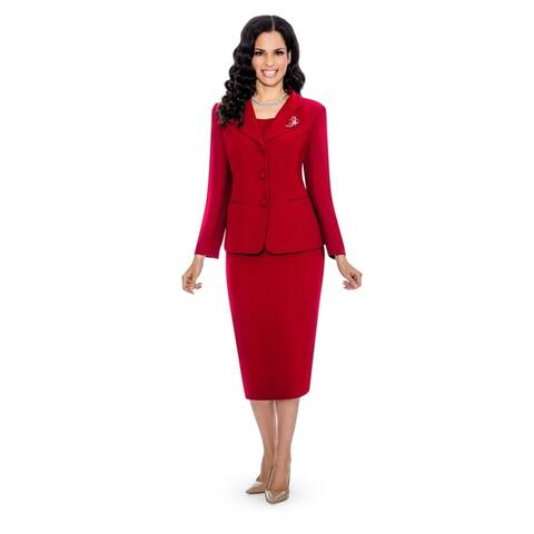 Giovanna Signature Women's Decorative Brooch 3-piece Skirt Suit