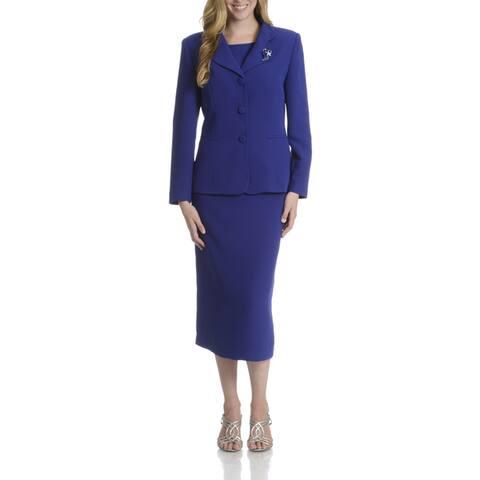 Giovanna Signature Women's Decorative Brooch 3-piece Skirt Suit