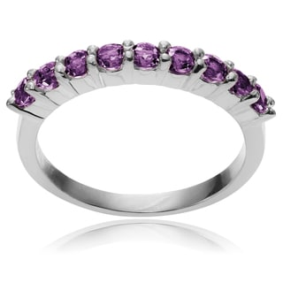 Journee Collection Sterling Silver Round Amethyst Ring Band