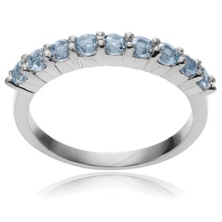 Journee Collection Sterling Silver Round Blue Topaz Ring Band