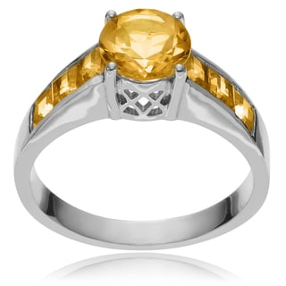 Journee Collection Sterling Silver Round Citrine Ring