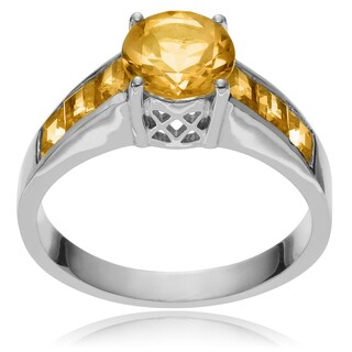journee collection sterling silver round citrine ring - Engagement Wedding Rings