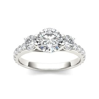 De Couer 14k White Gold 2ct TDW Diamond Three-Stone Anniversary Ring (H-I, I2)