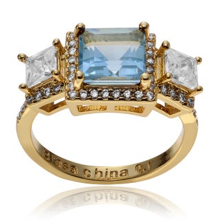 Journee Collection 14k Goldplated Metal Topaz 3-stone Ring