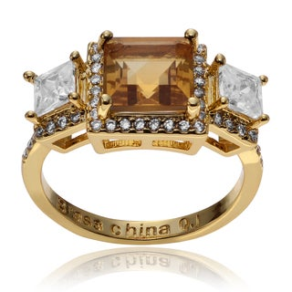 Journee Collection 14k Goldplated Metal Citrine White Topaz 3-stone Ring