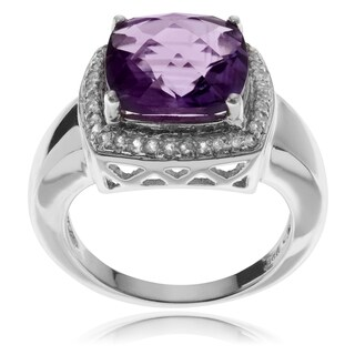 Journee Collection Sterling Silver Amethyst Topaz Halo Ring