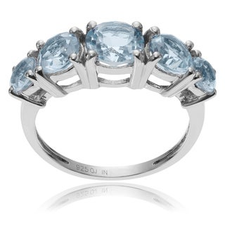 Journee Collection Sterling Silver Round Blue Topaz 5-stone Ring