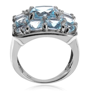 Journee Collection Sterling Silver Blue Topaz Square Ring