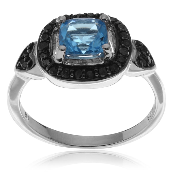 Journee Collection Sterling Silver Blue Topaz Black Diamond 7/8 TDW Ring