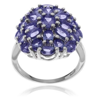 Journee Collection Sterling Silver Tanzanite Cluster Ring