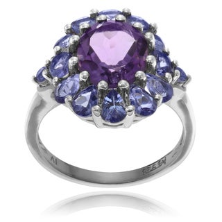Journee Collection Sterling Silver Amethyst Tanzanite Ring