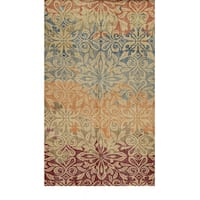 Hand-Knotted Abstract New Zealand Wool Beige Rug - 2' x 3'