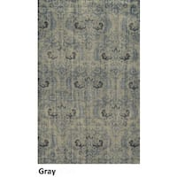 Hand-Knotted Abstract New Zealand Wool Grey Rug (2' x 3') - 2' x 3'