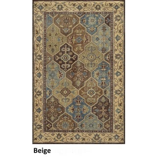 Hand-Knotted Border New Zealand Wool Beige Rug (2' x 3')