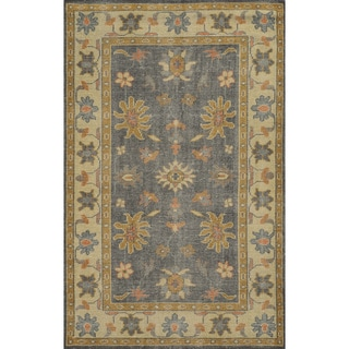 Hand-Knotted Border New Zealand Wool Grey Rug (2' x 3')