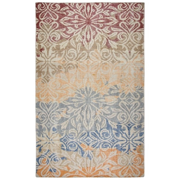 Hand-Knotted Abstract New Zealand Wool Beige Rug (5' x 8') - 5' x 8'