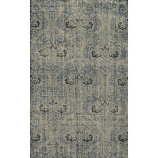 Hand-Knotted Abstract New Zealand Wool Grey Rug (5' x 8')