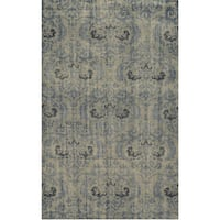 Hand-Knotted Abstract New Zealand Wool Grey Rug - 5' x 8'